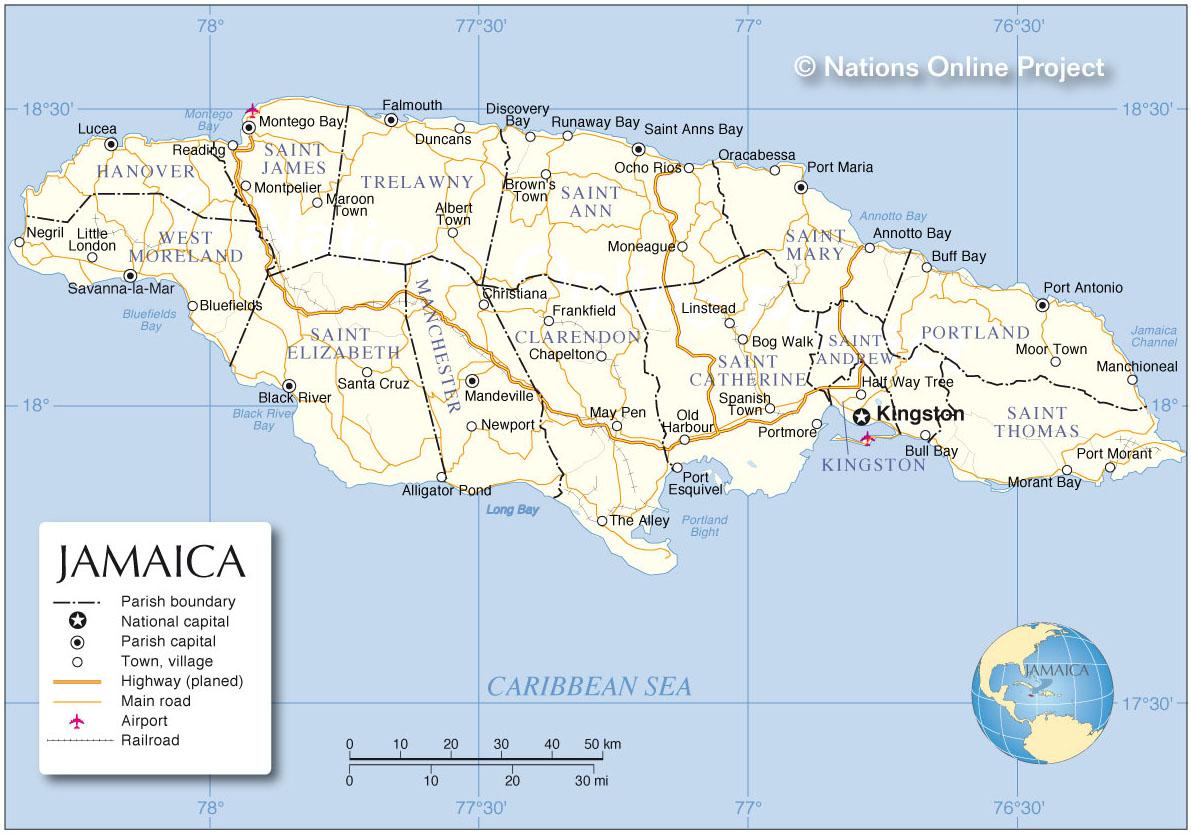 Kaart Jamaica