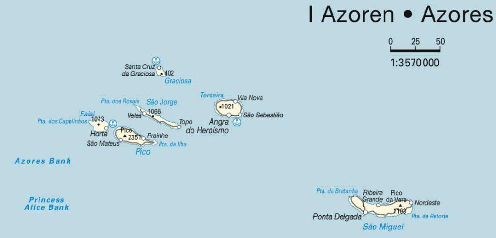 kaart Azoren
