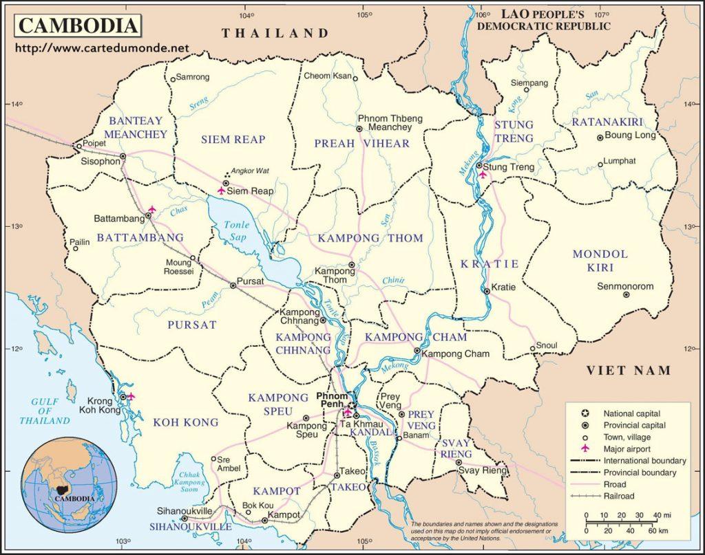Cambodja, kaart